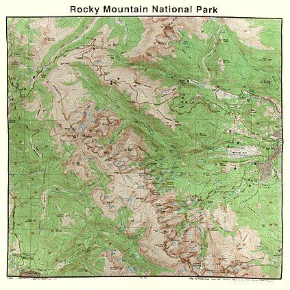 Yellowstone National Park Topographic Map.Bandanas Grand Canyon Topo Map First Aid Knots Animal Tracks